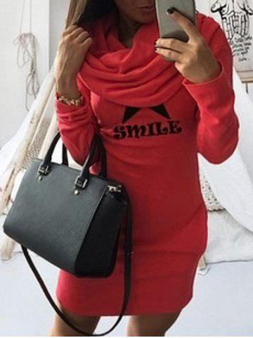Sale Long Sleeve Mini Bodycon Hoodie Dress - S RED Mobile