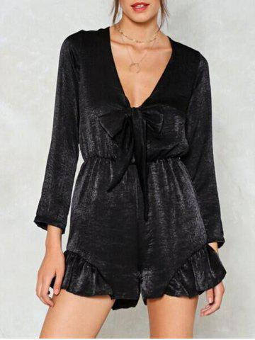 Shops Flounce Hem Long Sleeve Plunging Romper - S BLACK Mobile