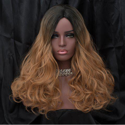 Unique Long Side Parting Shaggy Wavy Synthetic Wig - BLACK AND GOLDEN  Mobile