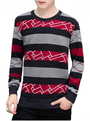 Shop Ribbed Trim Stripe Pullover Sweater RED 2XL