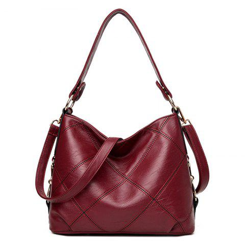 Outfit Stitching Quilt Cross Shoulder Bag - WINE RED  Mobile