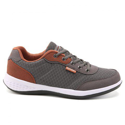 Best Color Block Breathable Mesh Sneakers - 42 GRAY Mobile