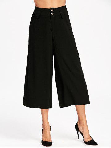 Affordable High Waist Wide Leg Cropped Pants BLACK S