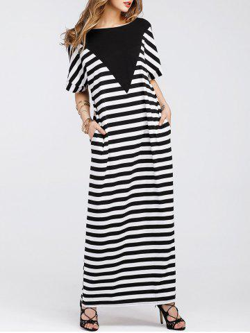 Stripe Batwing Sleeve Long Tee Shirt Dress Rayure M