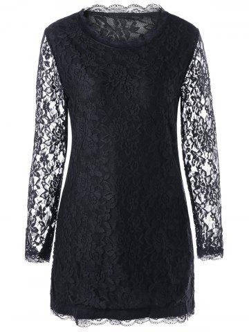 New Long Sleeve Slim Mini Lace Dress - XL BLACK Mobile