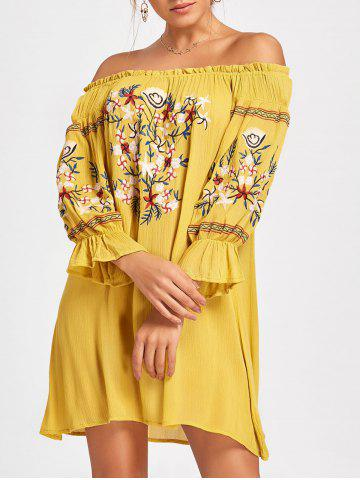 Sale Off The Shoulder Embroidered Mini Dress YELLOW S