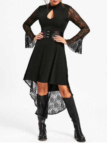 Online Flare Sleeve High Low Dress with Lace - S BLACK Mobile