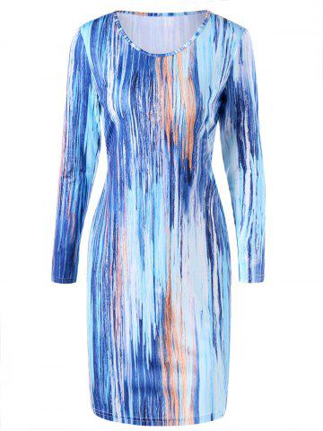 Cheap Long Sleeve Painted Bodycon Dress COLORMIX M