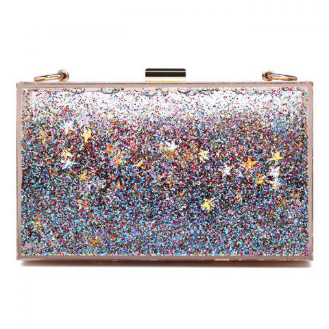 Shop Box Shape Glitter Chain Crossbody Bag