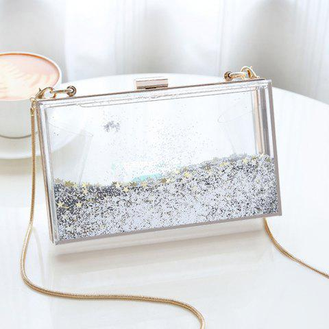 Buy Box Shape Glitter Chain Crossbody Bag - SILVER  Mobile
