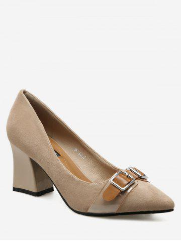 Best Suede Chunky Heel Buckle Strap Pumps APRICOT 39