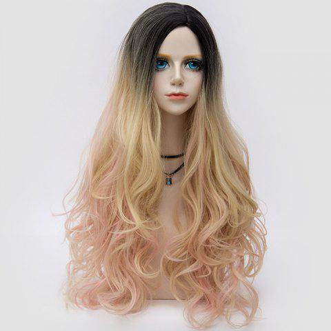 Outfits Long Side Parting Layered Shaggy Wavy Colormix Synthetic Party Wig GOLDEN