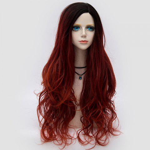 Trendy Long Side Parting Layered Shaggy Wavy Colormix Synthetic Party Wig DARK RED
