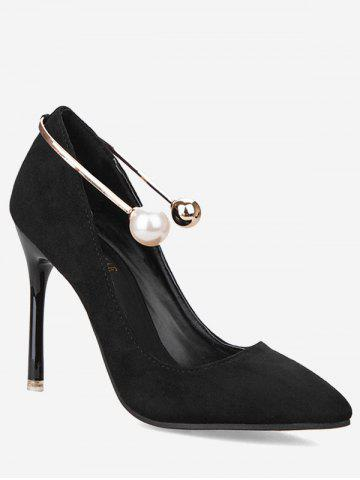 Best Stiletto Ankle Strap Faux Pearl Pumps BLACK 36
