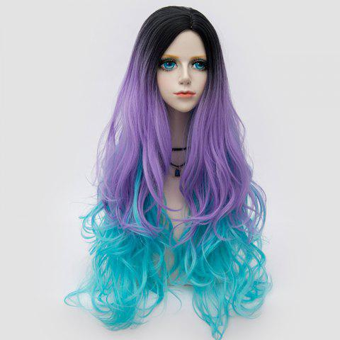 Hot Long Side Parting Layered Shaggy Wavy Colormix Synthetic Party Wig BLUE + PURPLE