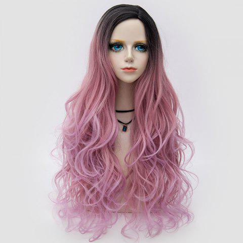 Latest Long Side Parting Layered Shaggy Wavy Colormix Synthetic Party Wig PINK