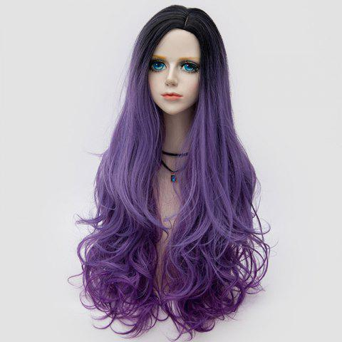New Long Side Parting Shaggy Layered Wavy Colormix Synthetic Party Wig PURPLE