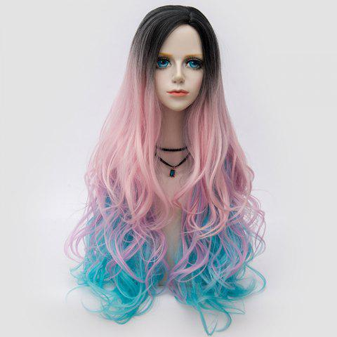 Unique Long Side Parting Shaggy Layered Wavy Colormix Synthetic Party Wig PINKISH BLUE