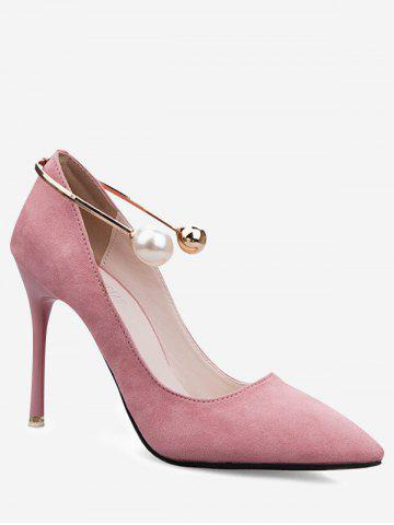 Outfits Stiletto Ankle Strap Faux Pearl Pumps PINK 39