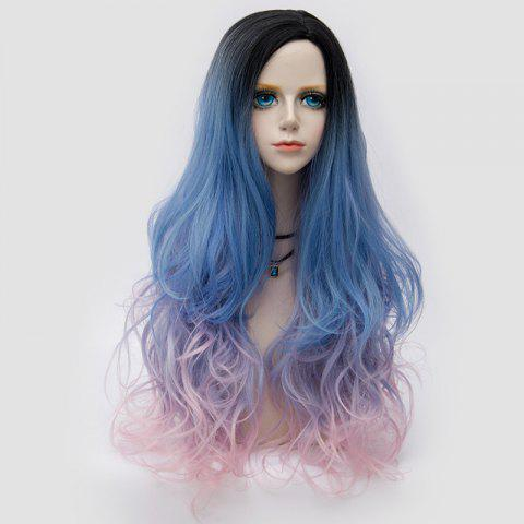 Fancy Long Side Parting Shaggy Layered Wavy Colormix Synthetic Party Wig - BLUE AND PINK  Mobile