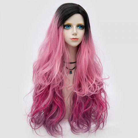 Trendy Side Parting Layered Shaggy Long Wavy Colormix Synthetic Party Wig PINK