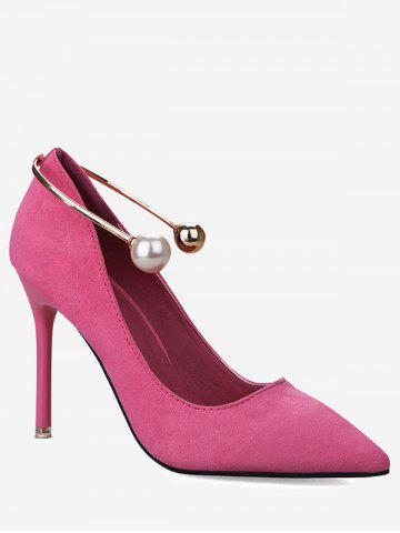 Cheap Stiletto Ankle Strap Faux Pearl Pumps - 39 TUTTI FRUTTI Mobile