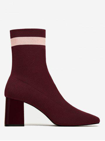 Affordable Color Block Pointed Toe Striped Boots WINE RED 39