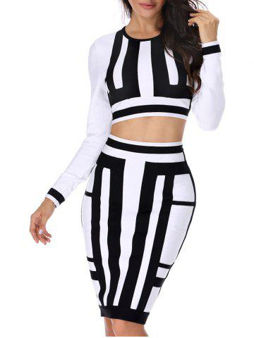 Discount Color Block Two Piece Bodycon Bandage Dress WHITE AND BLACK XS