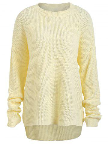 Cheap Casual Plus Size Knit Crew Neck Sweater LIGHT YELLOW ONE SIZE