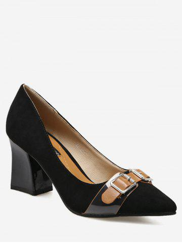 Shops Suede Chunky Heel Buckle Strap Pumps BLACK 35