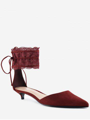 Chic Ankle Strap Two Pieces Pointed Toe Sandals - 40 WINE RED Mobile