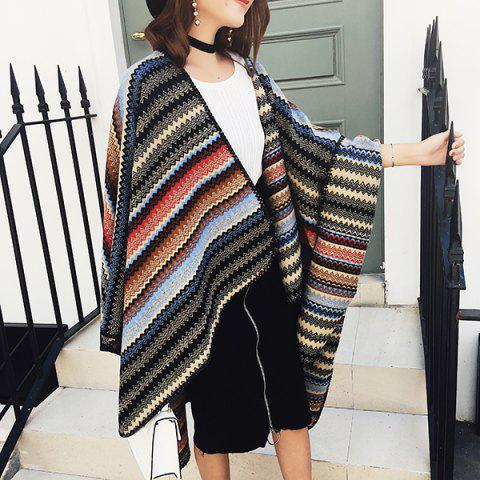 Chic Wave Stripe Pattern Faux Woolen Pashmina - RED BLUE  Mobile