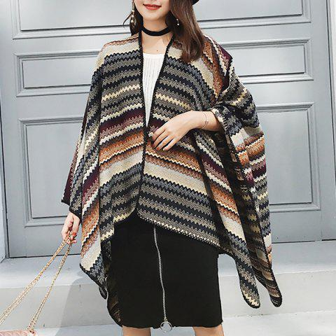 Affordable Wave Stripe Pattern Faux Woolen Pashmina COFFEE AND YELLOW