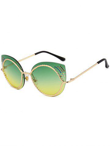 Buy Rhinestones Embellished Cat Eye Mirror Sunglasses