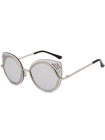 Outfits Rhinestones Embellished Cat Eye Mirror Sunglasses - SILVER  Mobile