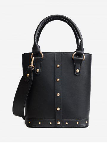 Shop Faux Leather Rivet Tote Bag - BLACK  Mobile