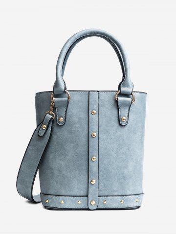 Latest Faux Leather Rivet Tote Bag BLUE