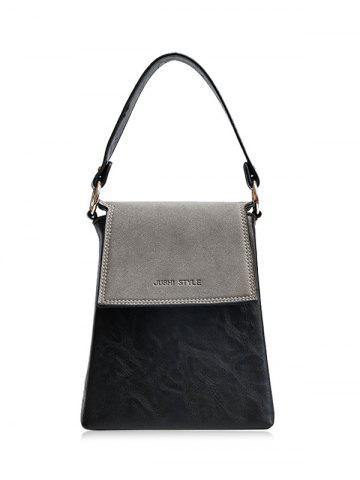 Faux Leather Embossing Color Block Handbag