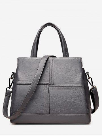 New Faux Leather Cross Stitching Tote Bag - GRAY  Mobile