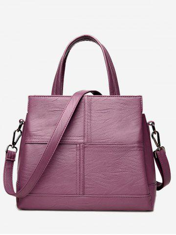 Latest Faux Leather Cross Stitching Tote Bag PURPLE