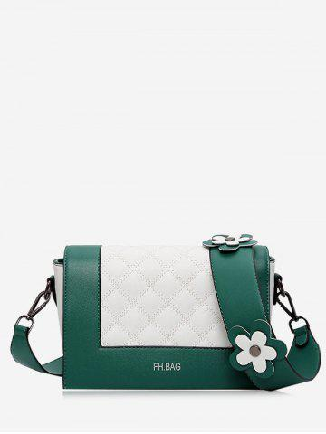 Sale Color Block Flower Quilted Crossbody Bag GREEN
