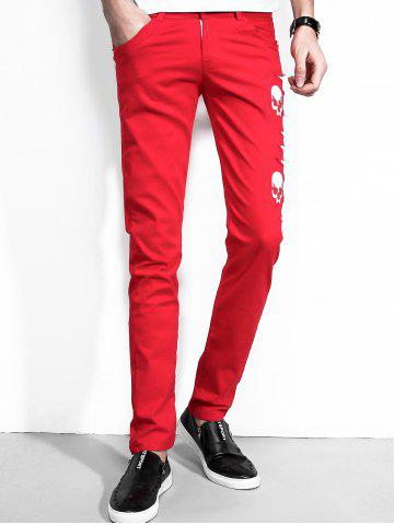 Hot Faux Leather Insert Skull Pattern Pants - 36 RED Mobile