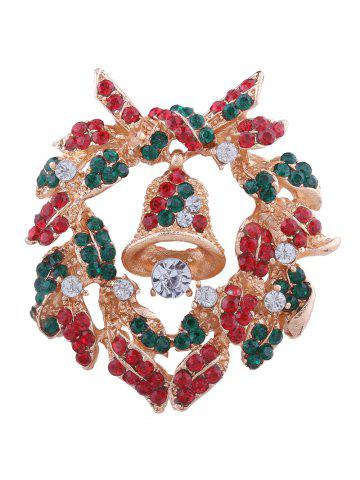 Unique Rhinestone Christmas Wreath Bell Brooch COLORMIX