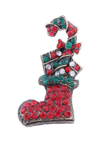 Affordable Rhinestoned Christmas Shoe Candy Cane Brooch RED