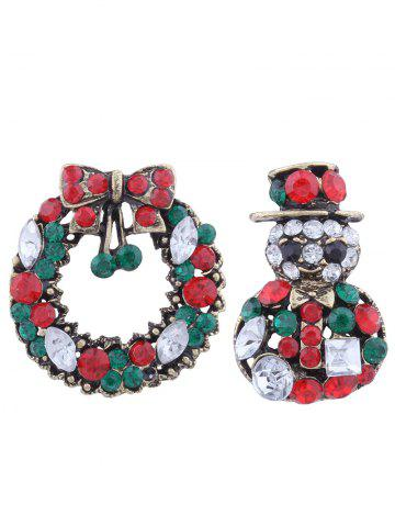 2PCS Rhinestone Christmas Snowman Wreath Broches Vert