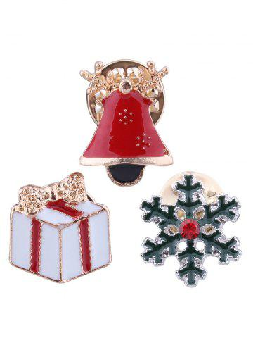 Fancy Christmas Snowflake Bell Gift Bows Brooches - RED  Mobile