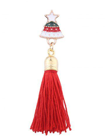 Affordable Tassel Christmas Star Tree Brooch RED