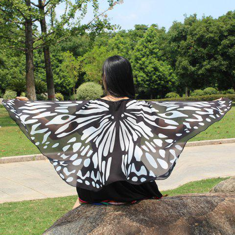 Fancy Colorful Butterfly Wings Scarf BLACK WHITE