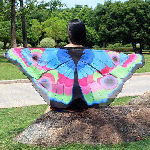 Buy Colorful Butterfly Wings Scarf - LAKE BLUE  Mobile