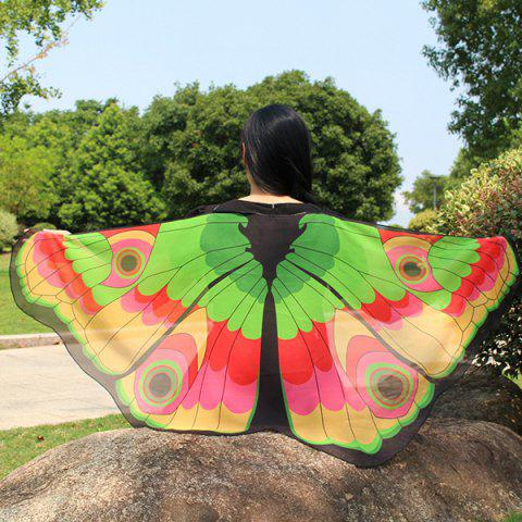 Cheap Colorful Butterfly Wings Scarf - YELLOW + GREEN  Mobile